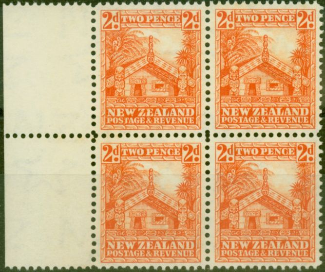 Valuable Postage Stamp from New Zealand 1941 2d Orange SG580c P.14 V.F MNH Block of 4