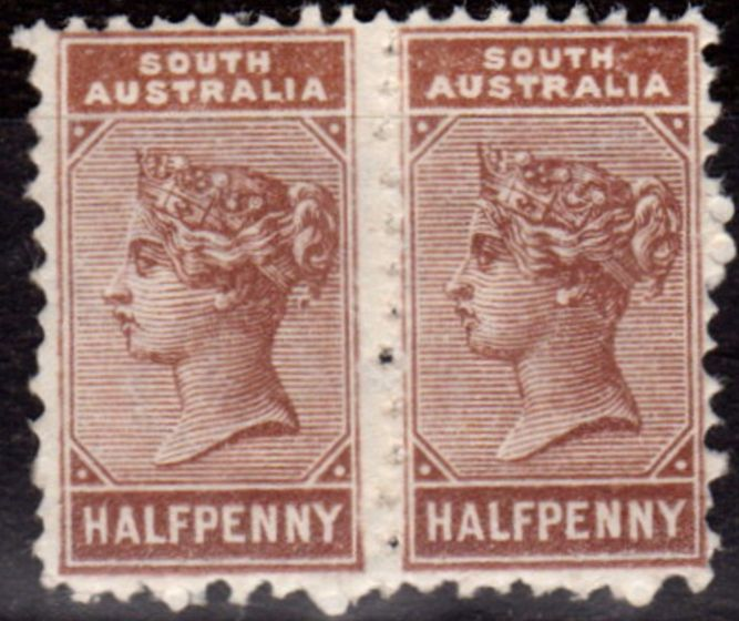 Old Postage Stamp from S. Australia 1893 1/2d Pale Brown SG188c P.15 x 12.5 Between Pair Fine Lightly Mtd Mint Rare