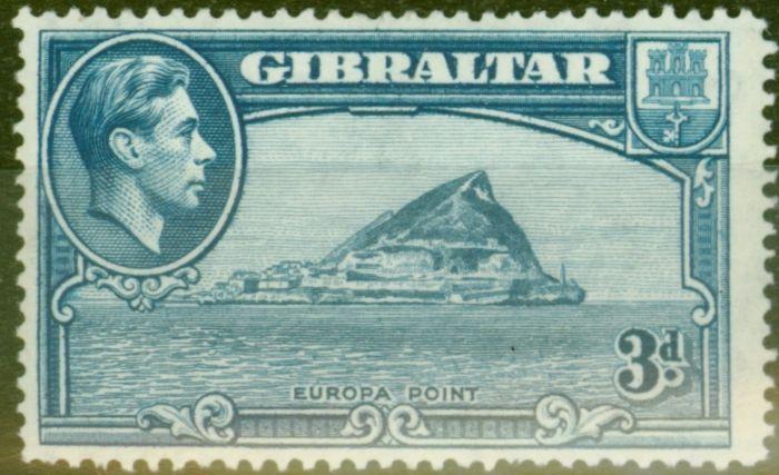 Rare Postage Stamp from Gibraltar 1938 3d Lt Blue SG125a P.14 Fine Lightly Mtd Mint