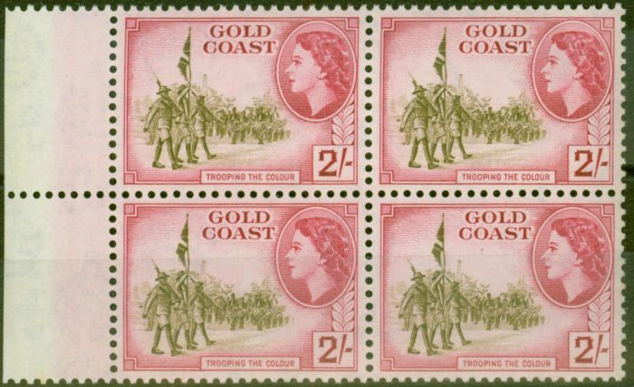 Rare Postage Stamp from Gold Coast 1954 2s Brown-Olive & Carmine SG162 V.F MNH Block of 4