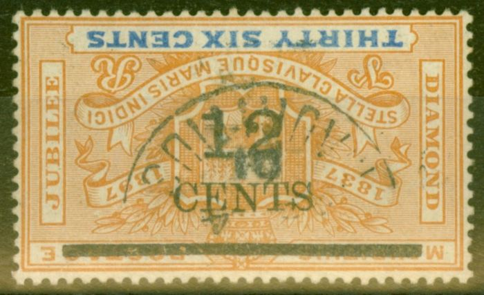 Valuable Postage Stamp from Mauritius 1902 12c on  36c Orange & Ultramarine SG163a Surch Inverted Fine Used