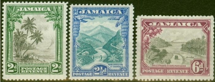 Rare Postage Stamp from Jamaica 1932 set of 3 SG111-113 V.F Very Lightly Mtd Mint..