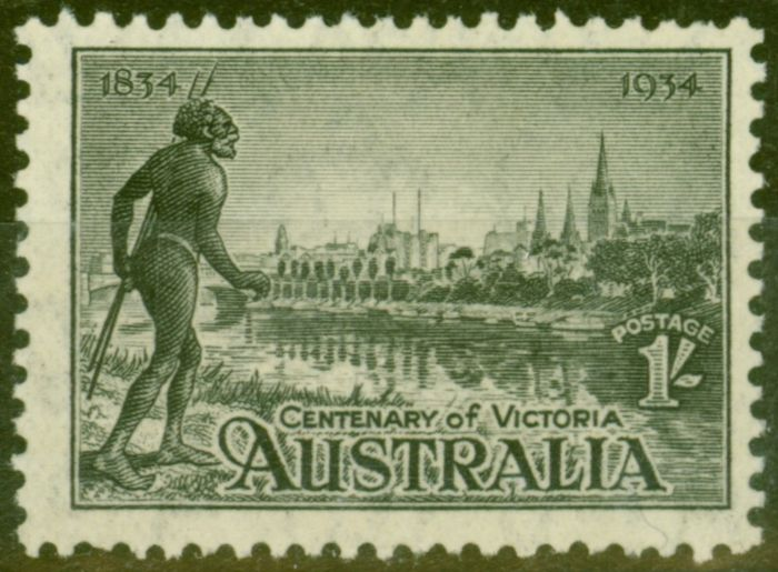 Old Postage Stamp from Australia 1934 1s Black SG149a P.11.5 Fine Lightly Mtd Mint