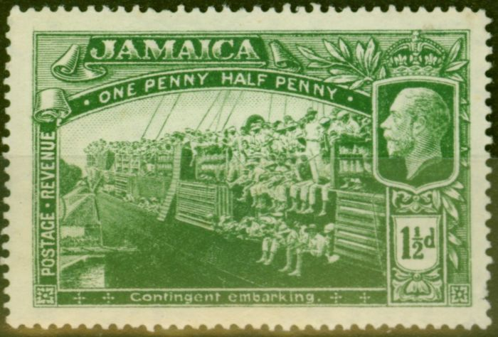 Old Postage Stamp from Jamaica 1919 1 1/2d Green SG80a Major Re-Entry Fine MNH