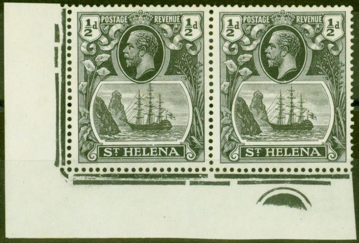 Valuable Postage Stamp from St Helena 1936 1/2d Grey-Black & Black SG97hc Cleft Rock V.F Lightly Mtd Mint Pl Corner Pair