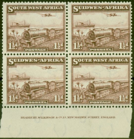 Old Postage Stamp from S.W.A 1937 Mail Train 1 1/2d Purple-Brown SG96 Fine MNH Imprint Block of 4