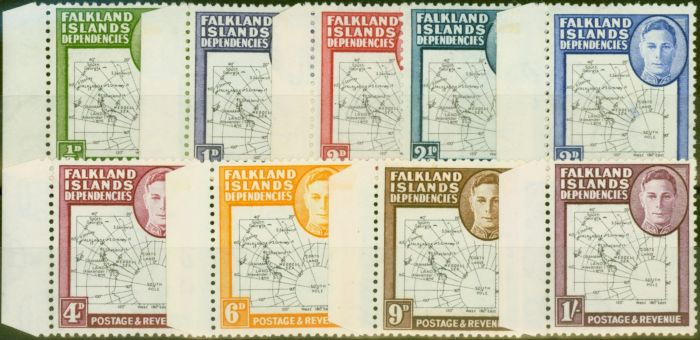 Old Postage Stamp from Falkland Is Dep 1948 Thin Maps set of 9 SG9-G16 Fine Lightly Mtd Mint