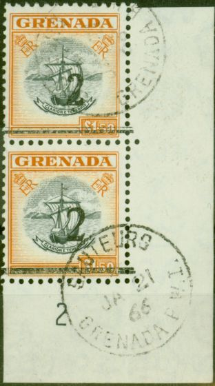 Rare Postage Stamp from Grenada 1965 2 on $1.50 Black & Orange Setting A & B in a V.F Postally Used Vert Pair