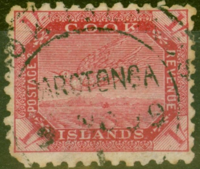 Old Postage Stamp from Cook Islands 1900 1s Dp Carmine SG20a Good Used