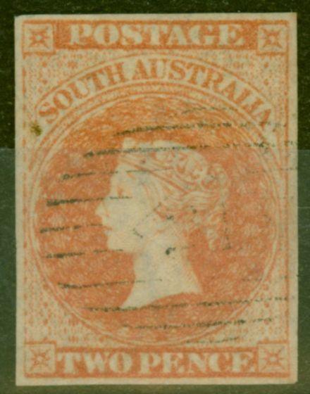 Old Postage Stamp from South Australia 1858 2d Orange-Red SG7 V.F.U 4 Neat Margins