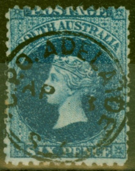 Rare Postage Stamp from South Australia 1869 6d Prussian Blue SG48 Fine Used
