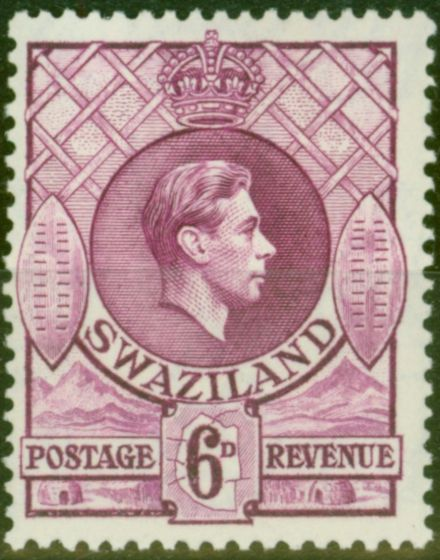 Valuable Postage Stamp from Swaziland 1938 6d Dp Magenta SG34 P.13.5 x 13 Fine Very Lightly Mtd Mint