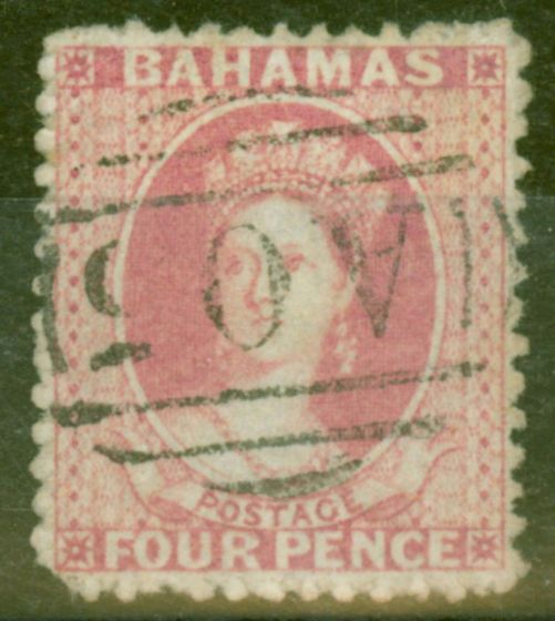 Rare Postage Stamp from Bahamas 1862 4d Dull Rose SG18 P.13 Good used