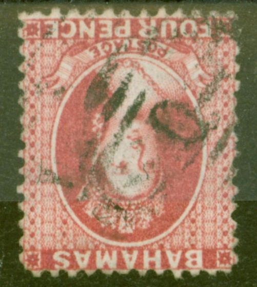 Old Postage Stamp from Bahamas 1863 4d Brownish Rose SG28w Wmk Inverted Fine Used