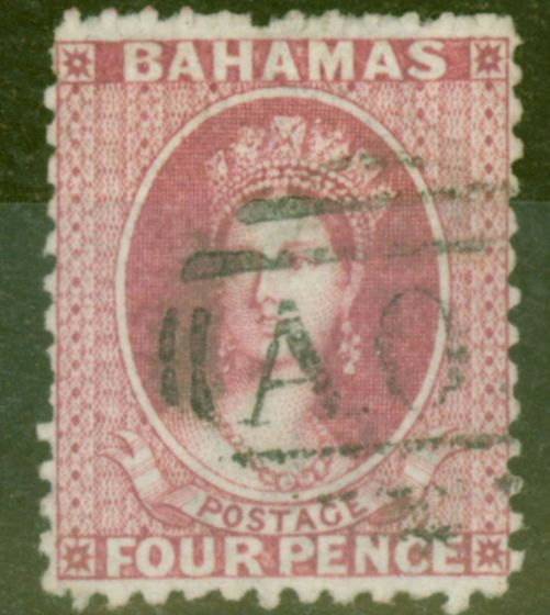 Old Postage Stamp from Bahamas 1863 4d Brt Rose SG26x Wmk Reversed Fine Used