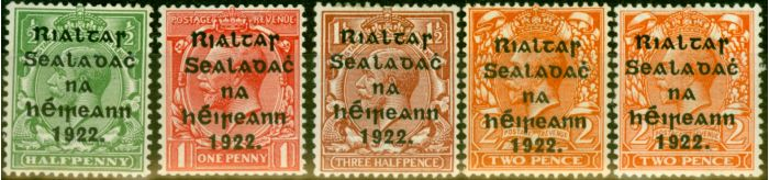 Valuable Postage Stamp from Ireland 1922 Harrison Set of 5 SG26-29a Fine Mtd Mint