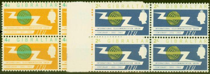 Rare Postage Stamp from Gibraltar 1965 I.T.U set of 2 SG180-181 in V.F MNH Blocks of 4
