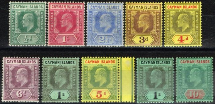 Old Postage Stamp from Cayman Islands 1907-09 set of 10 SG25-34 Fine & Fresh Mtd Mint