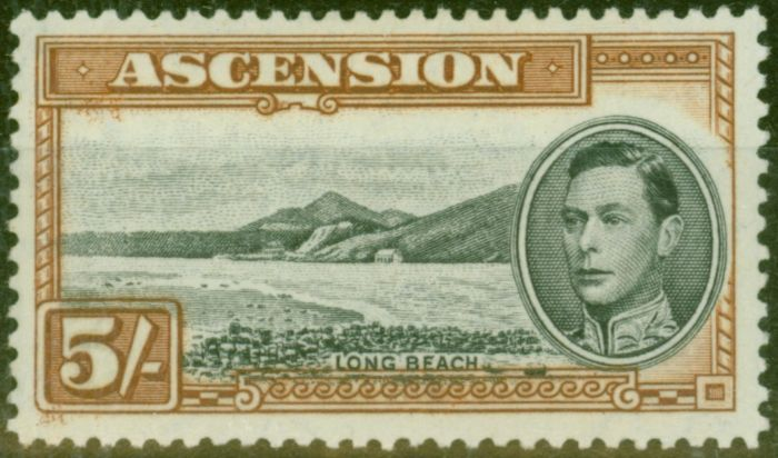 Collectible Postage Stamp from Ascension 1938 5s Black & Yellow-Brown SG46 Fine Lightly Mtd Mint