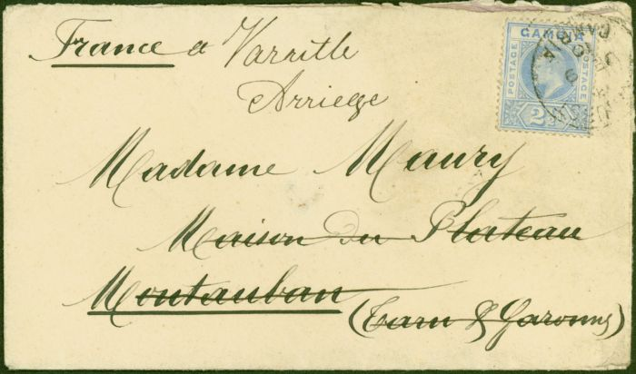 Rare Postage Stamp from Gambia 1910 Cover to France Bearing 2 1/2d Tarn Et Garonne Receiving Back Stamp Attractive