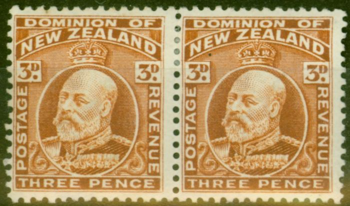 Old Postage Stamp from New Zealand 1909 3d Chestnut SG389 P.14 x 14.5 Fine Mtd Mint Pair