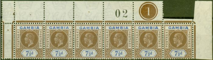 Valuable Postage Stamp from Gambia 1921 7 1/2d Brown & Blue SG115 Fine MNH Pl 1 Strip of 6