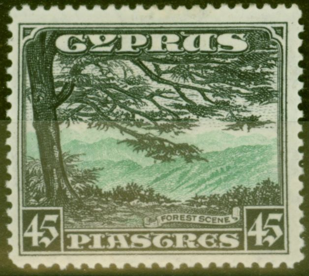 Rare Postage Stamp from Cyprus 1934 45pi Green & Black SG143 V.F Very Lightly Mtd Mint