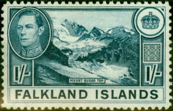 Collectible Postage Stamp from Falklands Islands 1948 1s Deep Dull Blue SG158c Very Fine MNH
