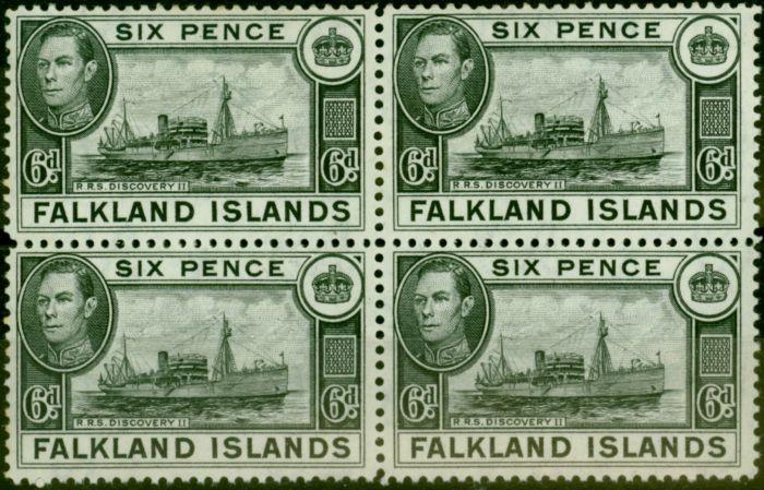 Old Postage Stamp from Falklands Islands 1949 6d Black SG156 Fine MNH Block of 4