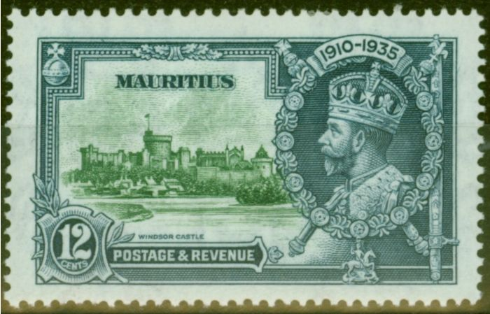 Old Postage Stamp from Mauritius 1935 12c Green & Indigo SG246f Diag Line by Turret V.F Very Lightly Mtd Mint