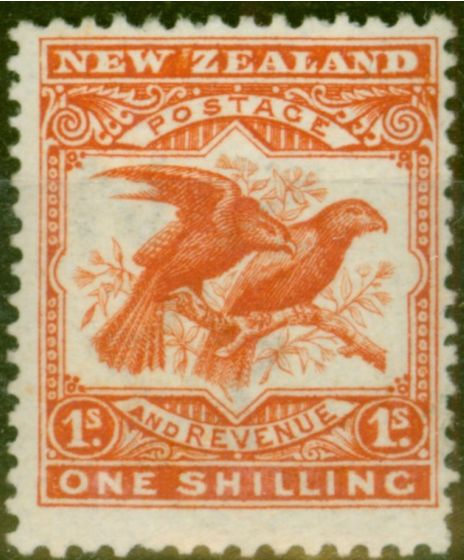 Collectible Postage Stamp from New Zealand 1908 1s Orange-Red SG385 P.14 x 15 Fine & Fresh Mtd Mint