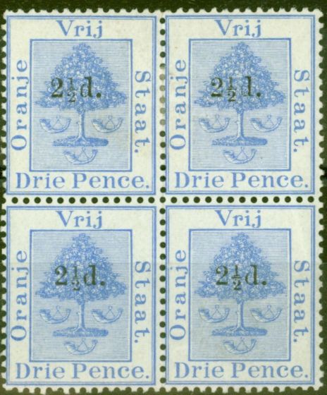Valuable Postage Stamp from Orange Free State 1892 2 1/2d on 3d Ultramarine SG67 Fine Mtd Mint Block of 4