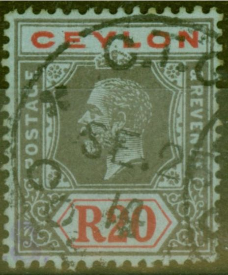 Valuable Postage Stamp from Ceylon 1912 20R Black and Red-Blue SG319 Very Fine Used