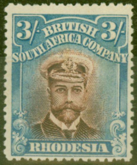 Collectible Postage Stamp from Rhodesia 1913 3s Chocolate & Blue SG250 P.15 Fine Lightly Mtd Mint