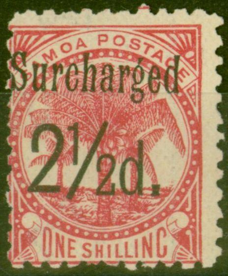 Valuable Postage Stamp from Samoa 1898 2 1/2d on 1s Dull Rose-Carmine SG86 Fine Mtd Mint (20)