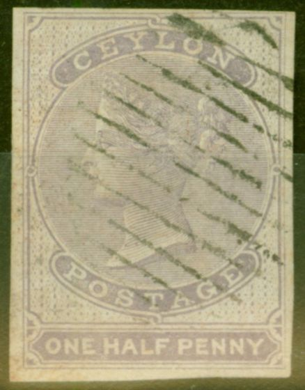 Old Postage Stamp from Ceylon 1858 1/2d Dull Mauve SG17 Very Fine Used With 4 Large Margins