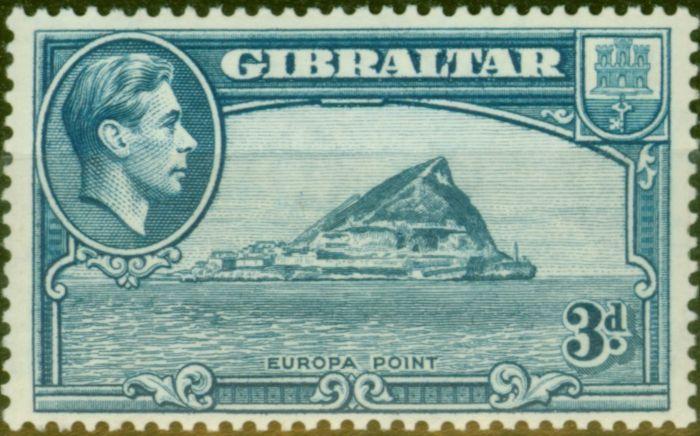 Rare Postage Stamp from Gibraltar 1938 3d Light Blue SG125a P.14 Fine Mtd Mint