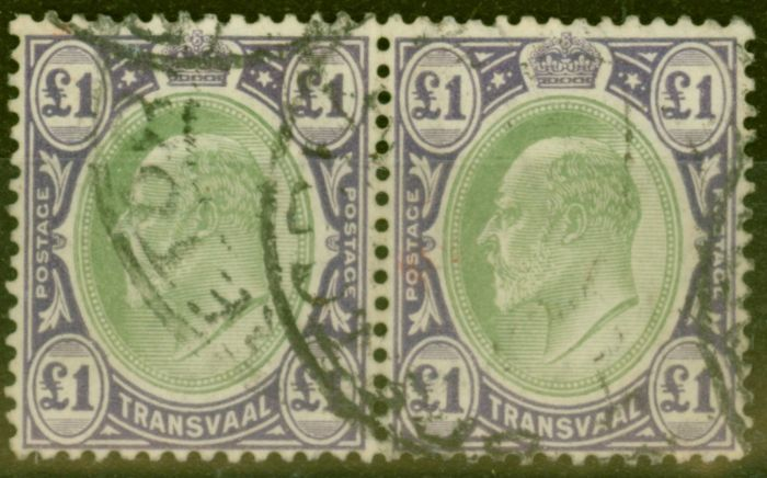 Old Postage Stamp from Transvaal 1908 £1 Green & Violet SG272 Fine Used Pair