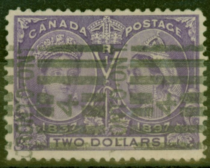 Rare Postage Stamp from Canada 1897 $2 Deep Violet SG137 Fine Used Roller Cancel