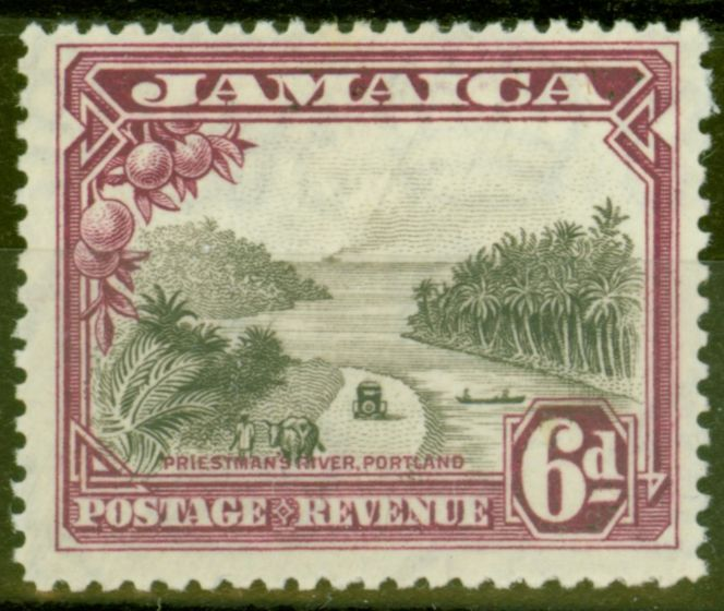 Collectible Postage Stamp from Jamaica 1932 6d Grey-Black & Purple SG113 Fine Mtd Mint