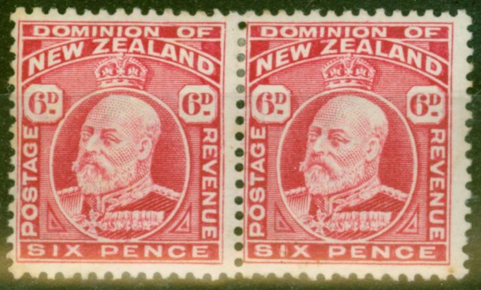Collectible Postage Stamp from New Zealand 1910 6d Carmine SG392 P.14 x 14.5 Fine Mtd Mint Pair