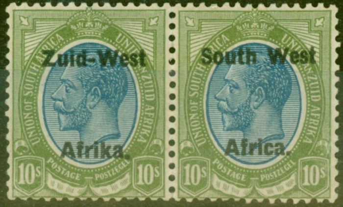 Collectible Postage Stamp from South West Africa 1923 10s Blue & Olive-Green SG14 Setting II Fine Lightly Mtd