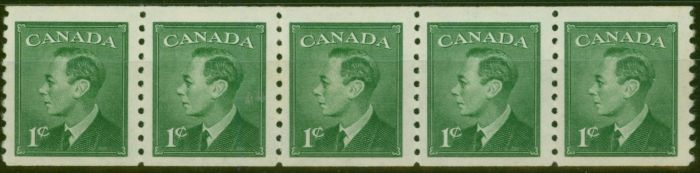 Valuable Postage Stamp from Canada 1950 1c Green SG419 Coil Strip of 5 V.F MNH
