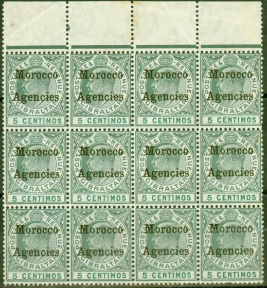 Rare Postage Stamp from Morocco Agencies 1905 5c Grey-Green & Green SG24 Good MNH Block of 12