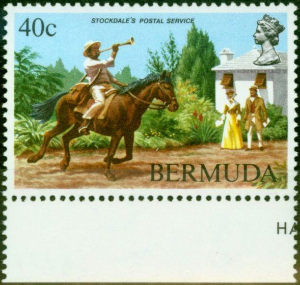 Valuable Postage Stamp from Bermuda 1984 40c Postal Service SG471w Wmk Sideways Inverted V.F MNH