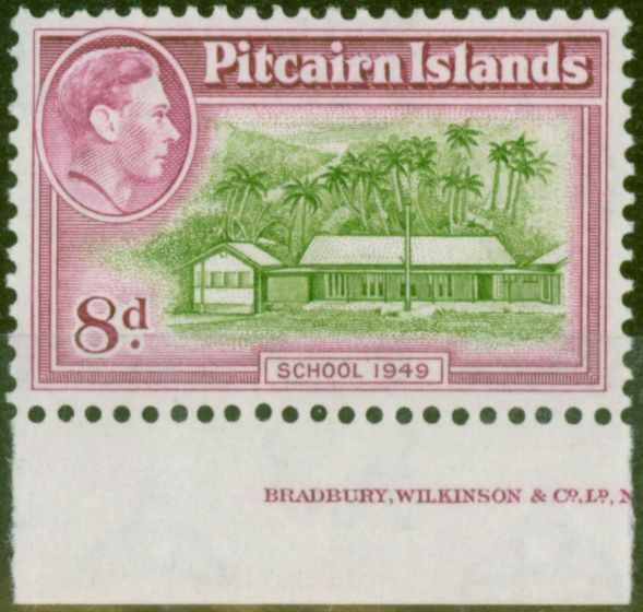 Rare Postage Stamp from Pitcairn Islands 1951 8d Olive-Green & Magenta SG6a V.F MNH Part Imprint