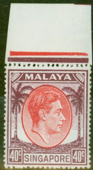 Old Postage Stamp from Singapore 1951 40c Red & Purple SG26 V.F MNH Marginal