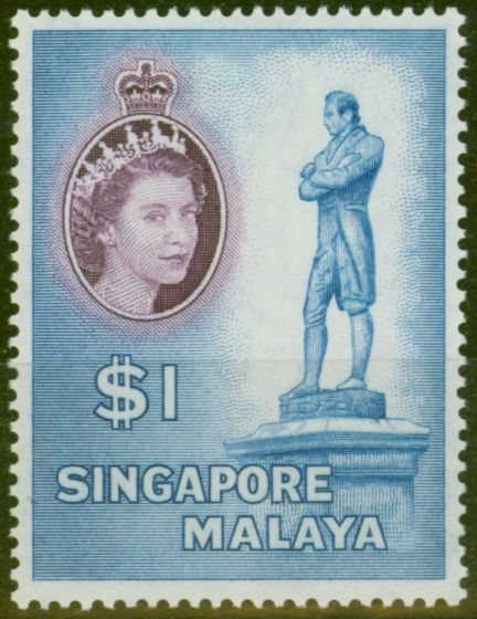 Old Postage Stamp from Singapore 1955 $1 Blue & Dp Purple SG50 V.F Very Lightly Mtd Mint