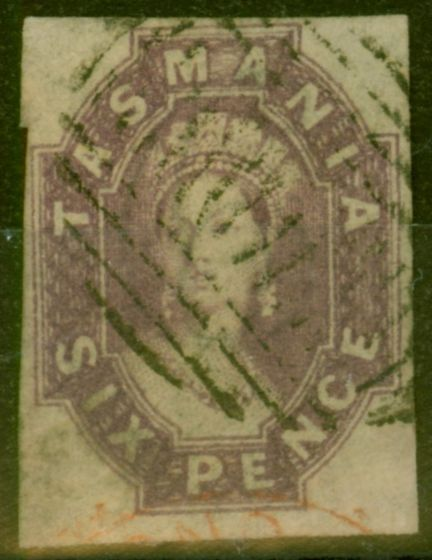 Collectible Postage Stamp from Tasmania 1867 6d Reddish Mauve SG49 Fine Used