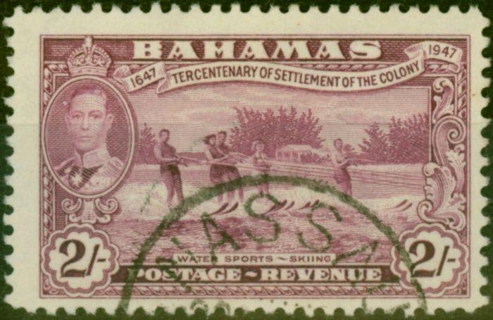 Old Postage Stamp from Bahamas 1948 2s Magenta SG189 V.F.U